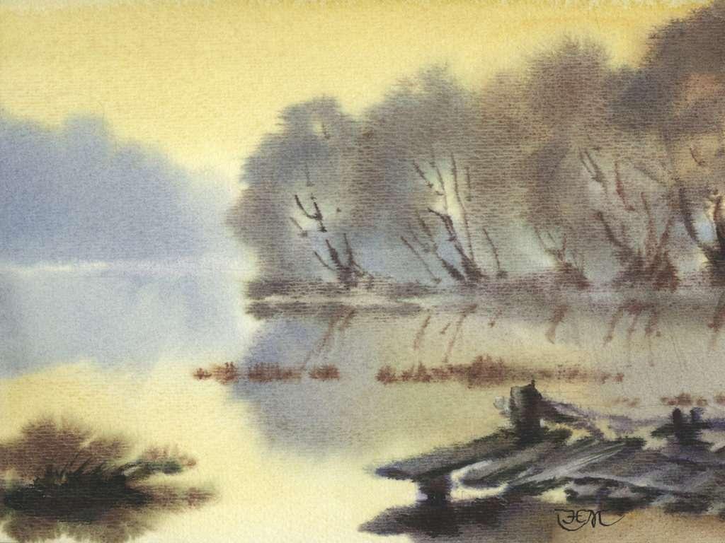 1024x768 Art Landscape Watercolor Hazy Impressionistic Chinese 82031