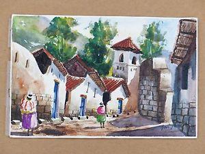 300x225 South American Spanish Watercolor Painting Signed Saul Saune Peru