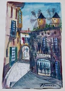 214x300 Bodega Bar Rare Spanish South American Art Watercolor Painting