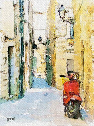 375x500 Spanish Street Art Digital Watercolor, Digital Art