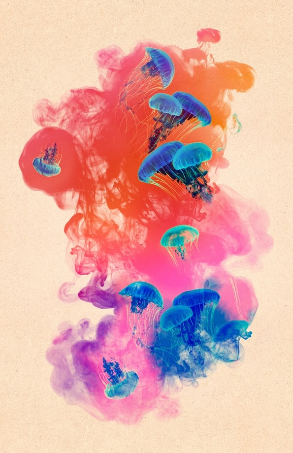 595x920 Psychedelic Ink Jellyfish Watercolor, An Art Print By Pepe Psyche