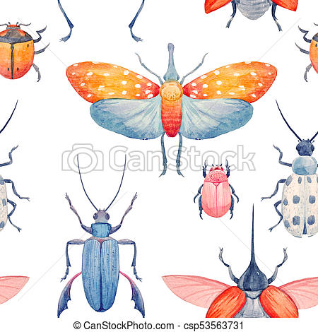 450x470 Watercolor Beetle Pattern. Beautiful Pattern With Hand Drawn
