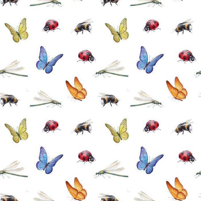700x700 Watercolor Insects Illustrations Wall Mural We Live To