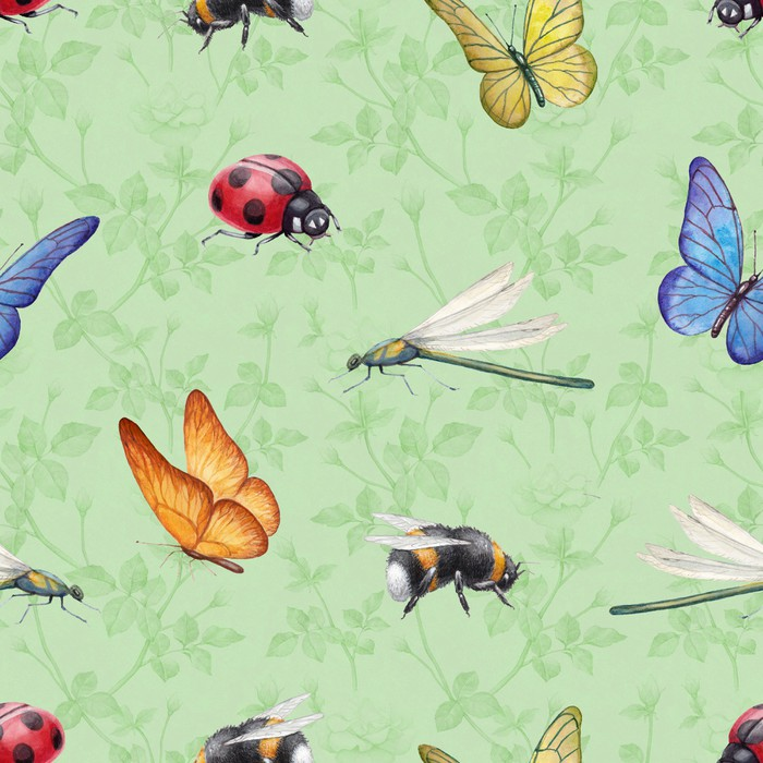 700x700 Watercolor Insects Illustrations. Seamless Pattern Wall Mural
