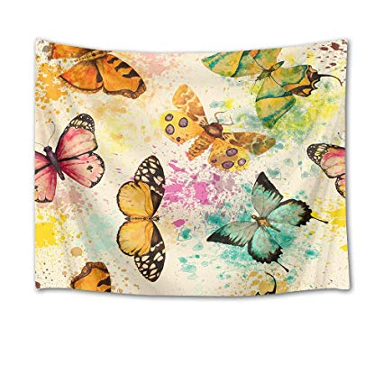 425x425 Hvest Colorful Butterflies Tapestry,watercolor Insects
