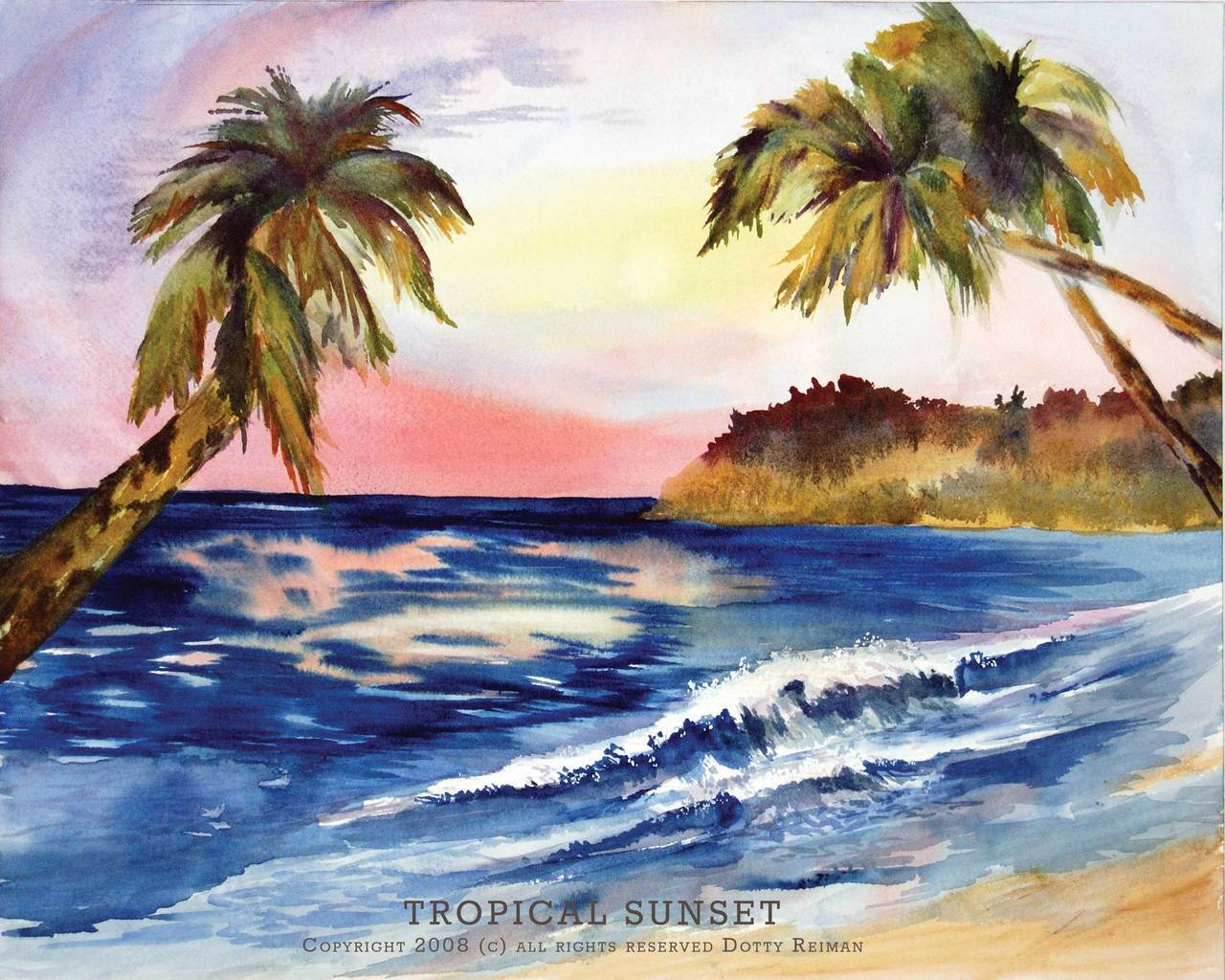 1280x1024 Tropical Sunset Original Tropical Island Watercolor By Dotty
