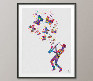 300x260 Jazz Man 2 Watercolor Art Print Home Decor Bar Decor Music Poster