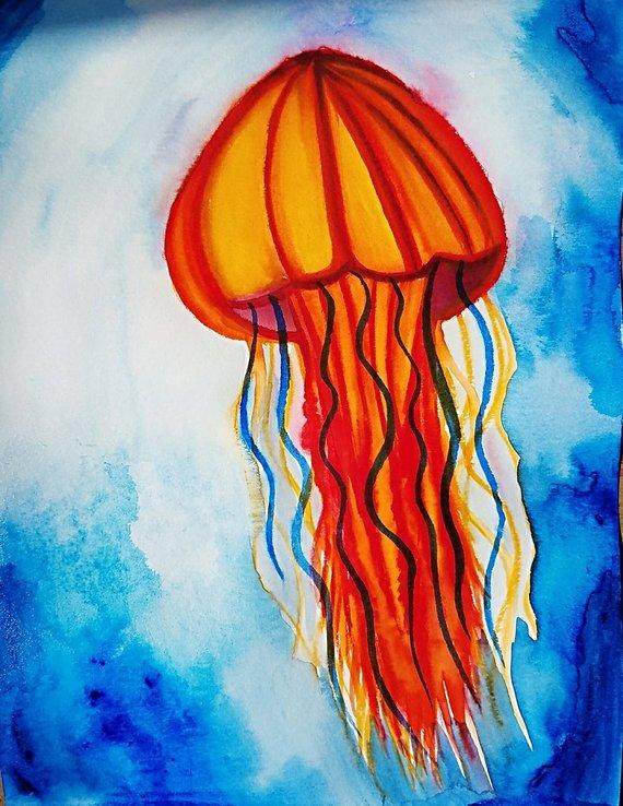 570x738 Jellyfish Painting Jellyfish Art Watercolor Jellyfish Etsy
