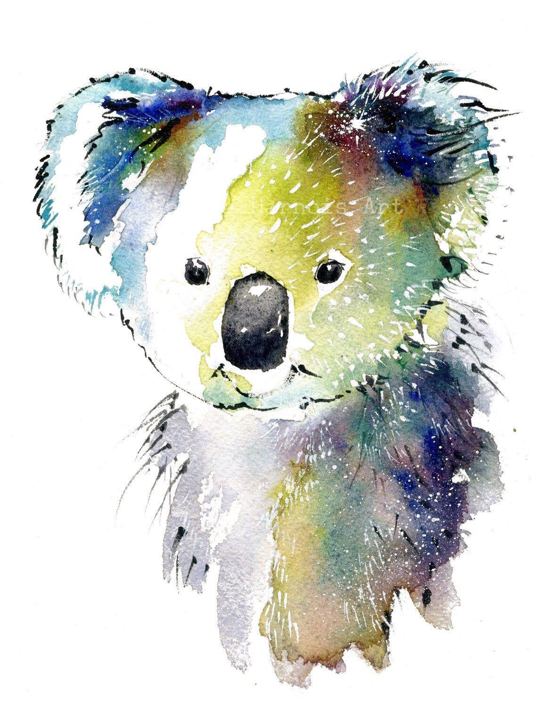 1133x1500 Koala Bear Art, Watercolor Art Print, Bear, Interior Design, Wall