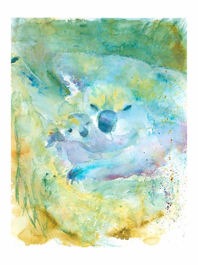 642x856 Koala Art Print Koala Watercolor Koala Painting Animal Art Etsy