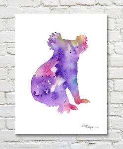 248x300 Koala Bear Abstract Watercolor Painting Art Print By Artist Dj