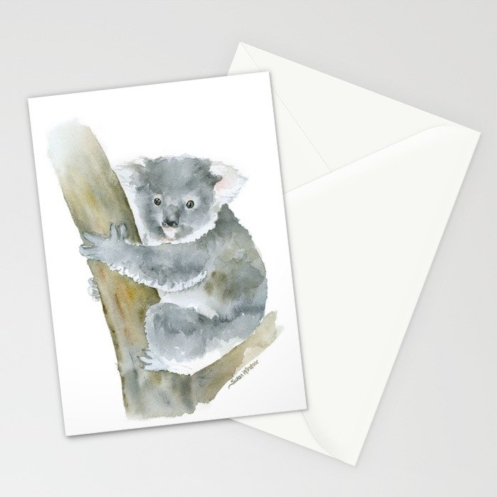 700x700 Koala Watercolor Painting Stationery Cards By Susanwindsor Society6