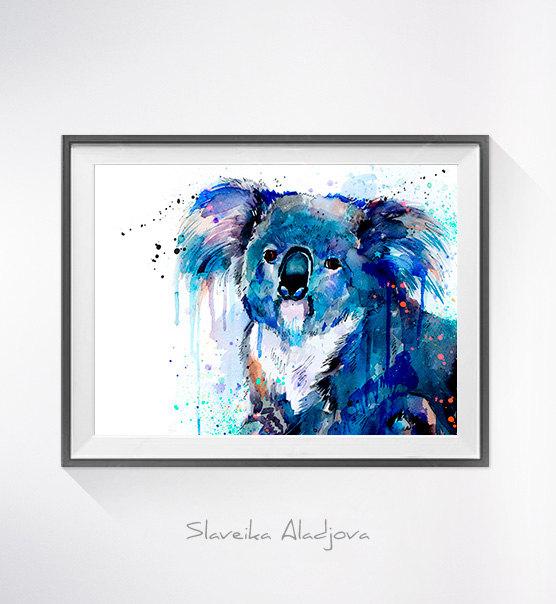 556x604 Koala Watercolor Painting Print