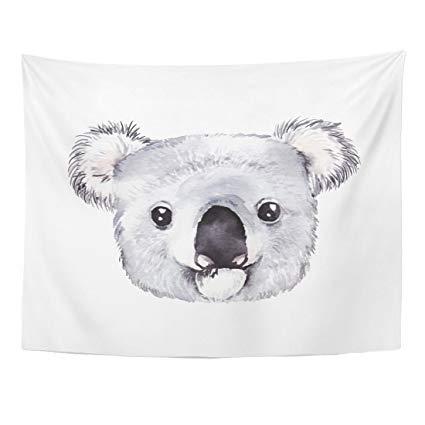 425x425 Emvency Tapestry Blue Animal Watercolor Koala Portrait