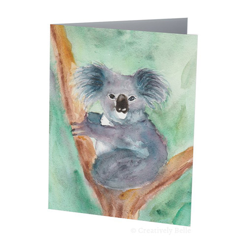 500x500 Watercolour Australian Koala Greeting Card Creatively Belle