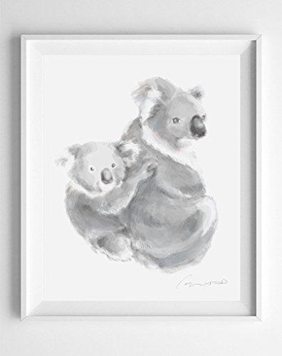 396x500 Koala Watercolor Painting Handmade