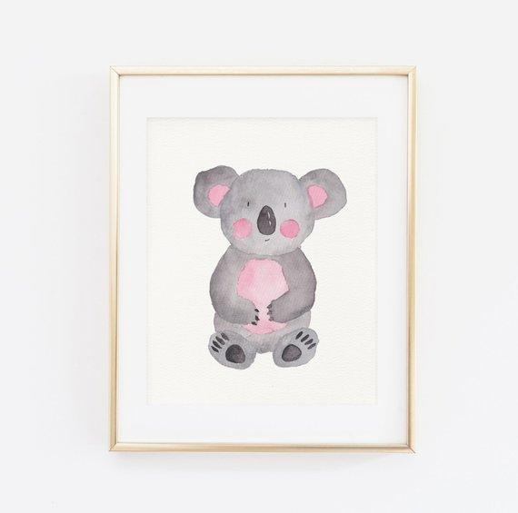 570x565 Cute Watercolor Nursery Art Koala Print Printable Wall Art Etsy