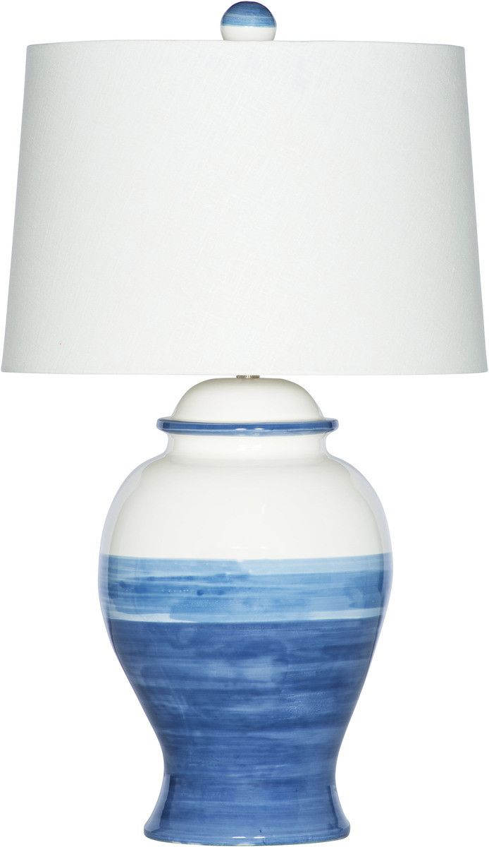 694x1200 Helena Blue Amp White Watercolor Lamp With White Drum Shade
