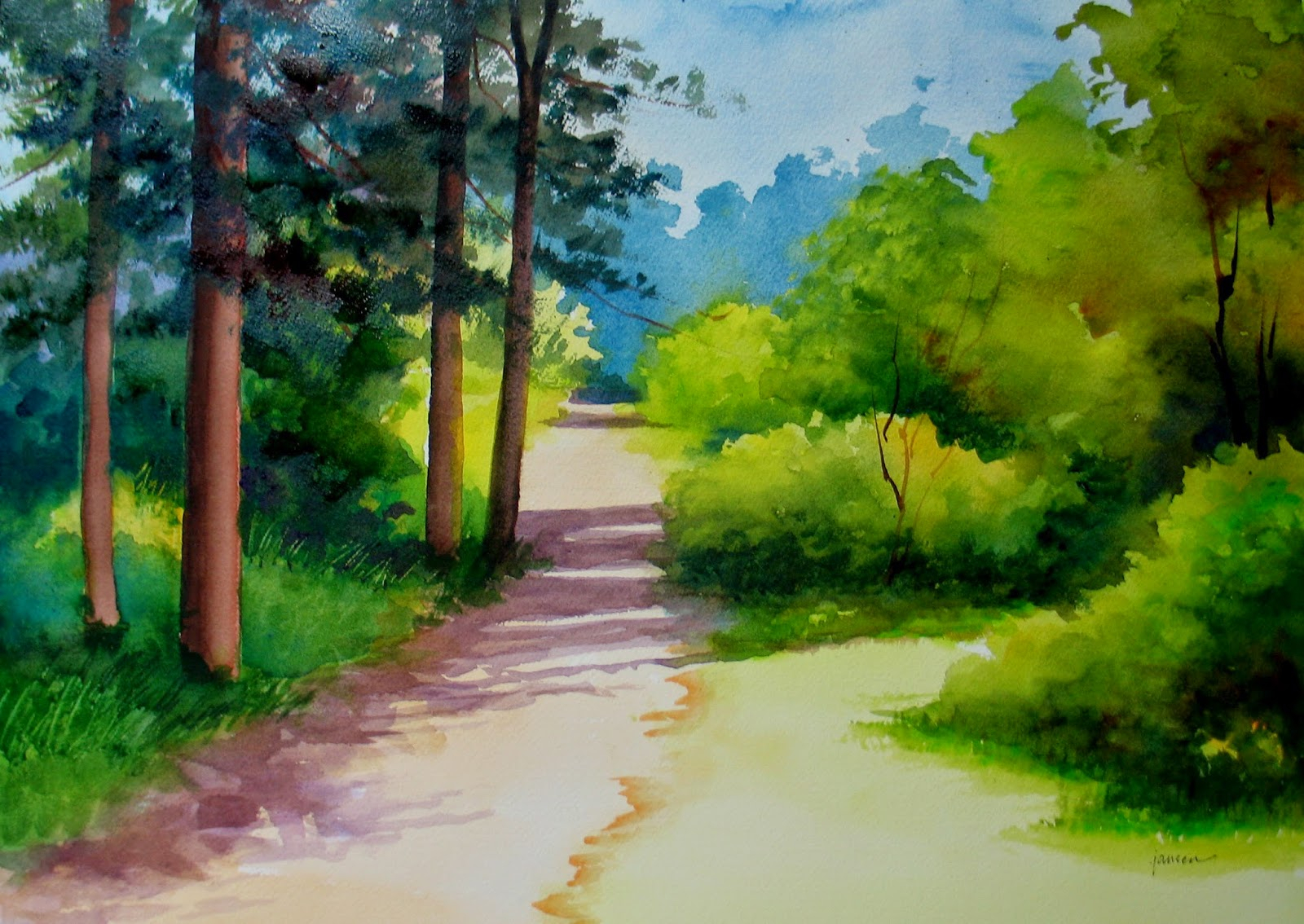 Watercolor Landscape Easy At Getdrawings Com Free For