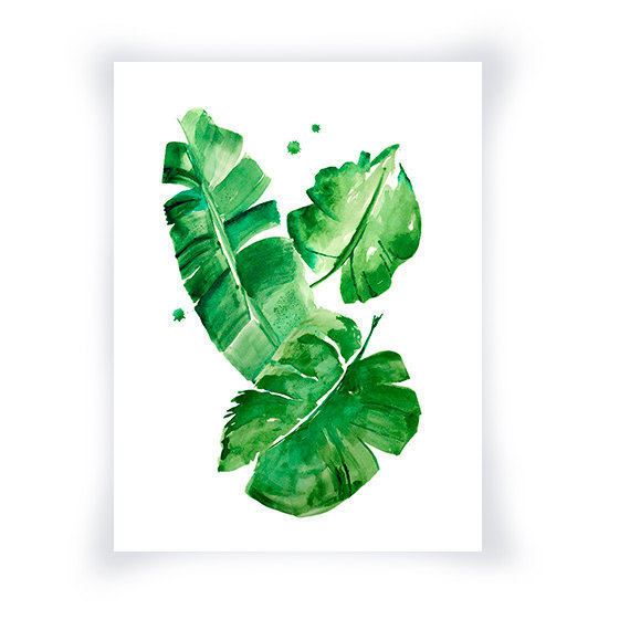 570x570 Banana Leaves Watercolor Print, Green Wall Art Home Decor, Green