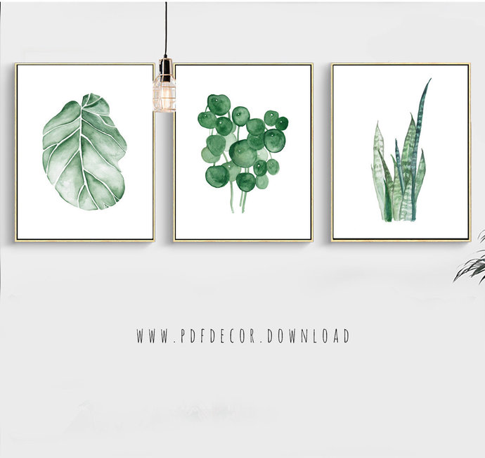 690x651 Watercolor Tropical Leaf, Set Of 3 Tropical By Pdfdecor On Zibbet