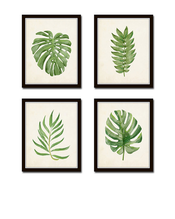570x713 Watercolor Tropical Leaf Print Set No. 2, Giclee, Art Print, Print