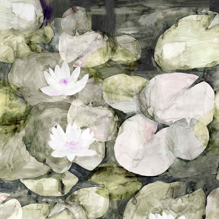700x700 Lily Pads Watercolor Wallpaper Brett Design Inc Wallpaper