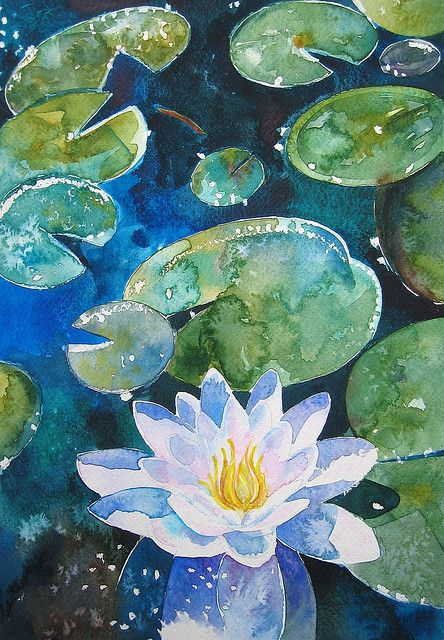 444x640 Water Lily Painting Water Lilies, Water And Watercolor