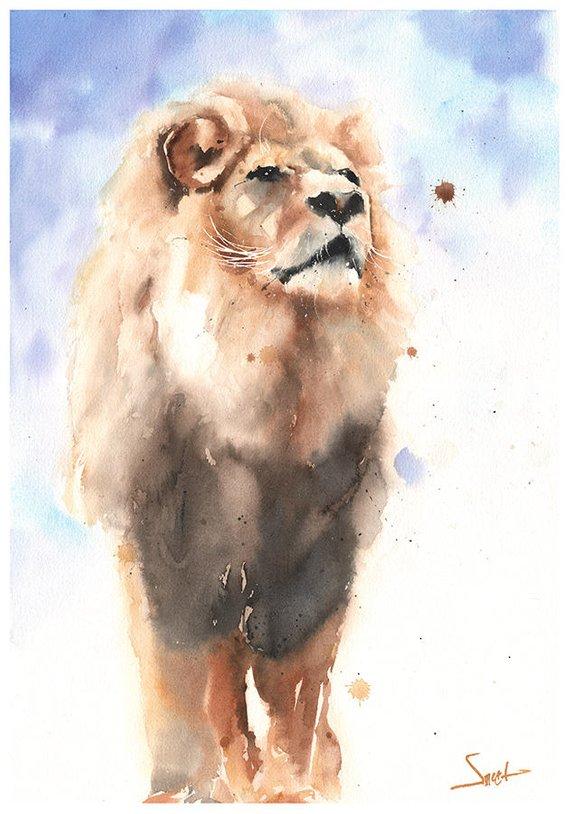 570x814 Lion Painting Original Watercolor Lion King Lion Original Etsy