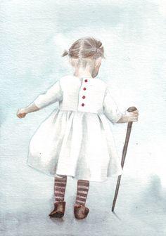 Watercolor Little Girl