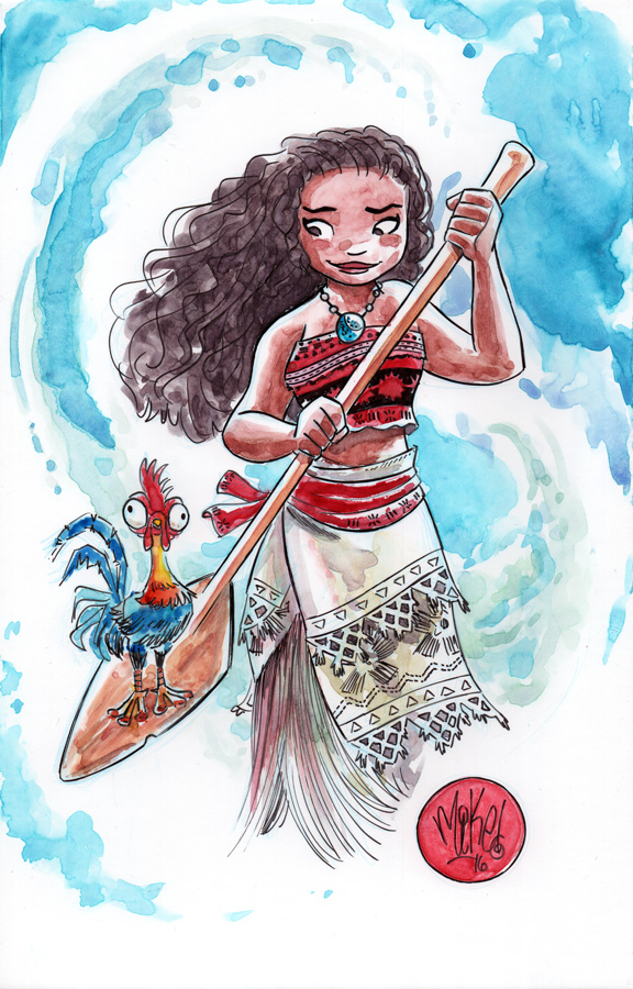 576x900 Watercolor Moana Mikemaihack Little Girl Coloring