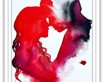 340x270 Love Kiss Romantic Watercolor Print Romantic Watercolor Etsy