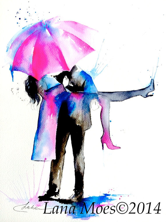 570x760 Love Paris Romance Umbrella Watercolor Painting, Contemporary
