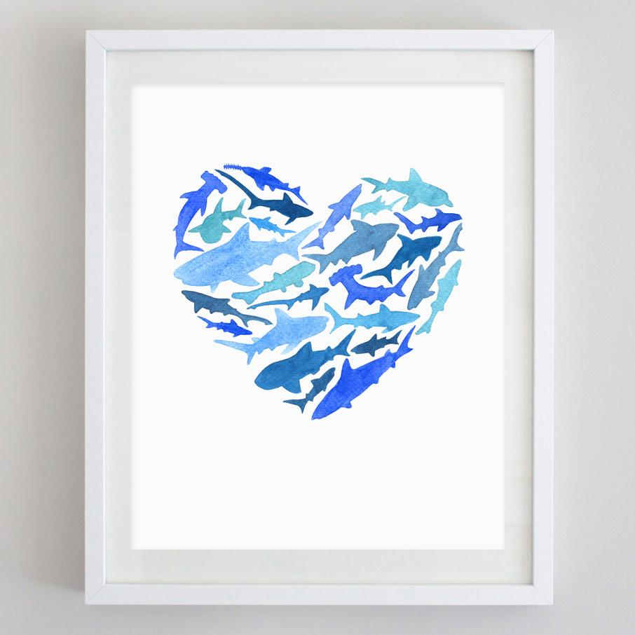 906x906 Shark Love Watercolor Print Carly Rae Studio