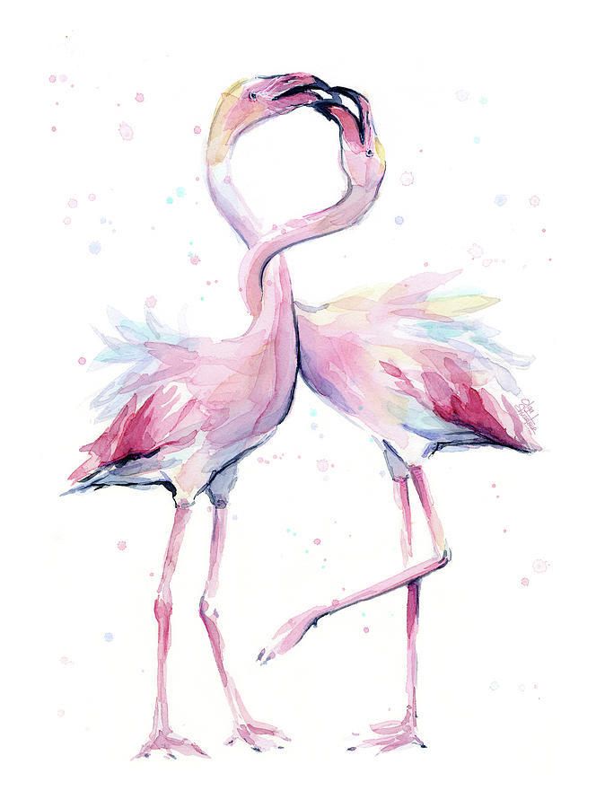 674x900 Two Flamingos Watercolor Famingo Love Painting By Olga Shvartsur