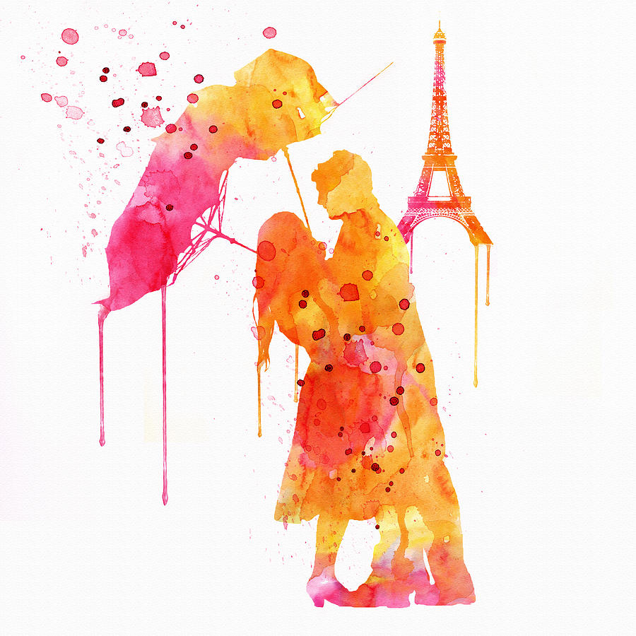900x900 Watercolor Love Couple In Paris Painting By Marian Voicu