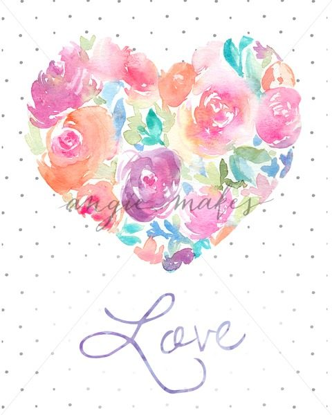 480x600 Watercolor Love Heart Wall Art. Painted Heart Made Of Flowers