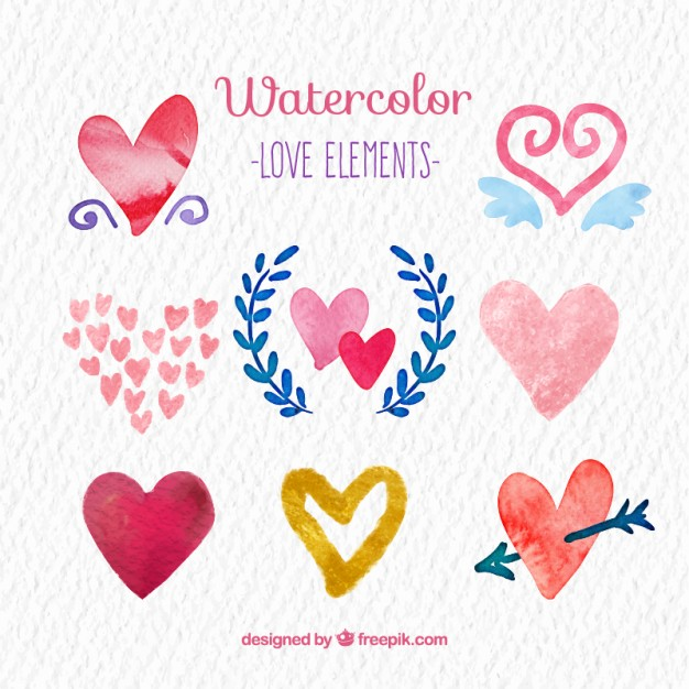 626x626 Watercolor Love Elements Stock Images
