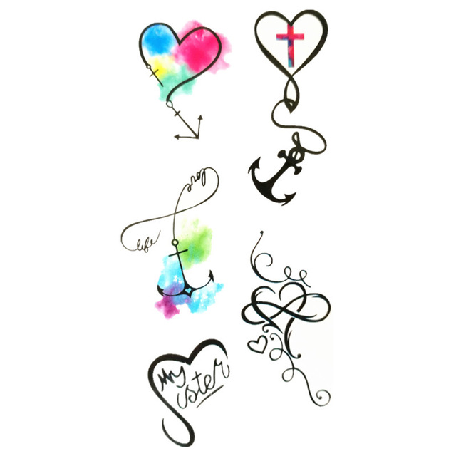 640x640 Waterproof Temporary Fake Tattoo Stickers Watercolor Love Heart