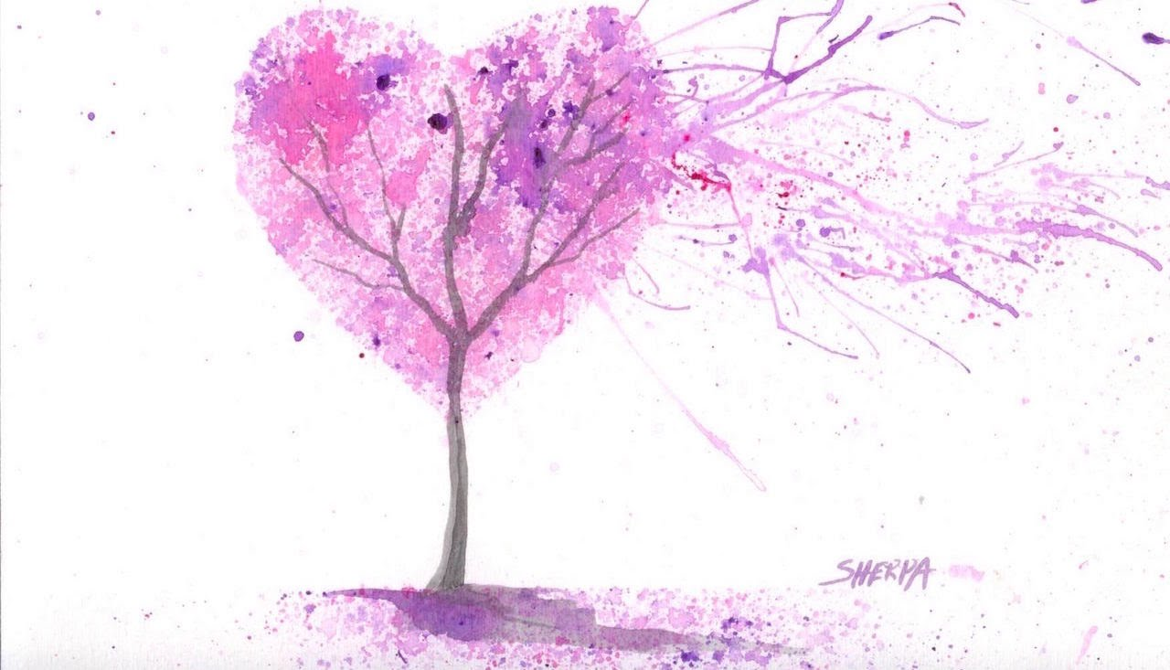 1280x733 Easy Acrylic Watercolor Splatter Art The Cherry Blossom Love Tree