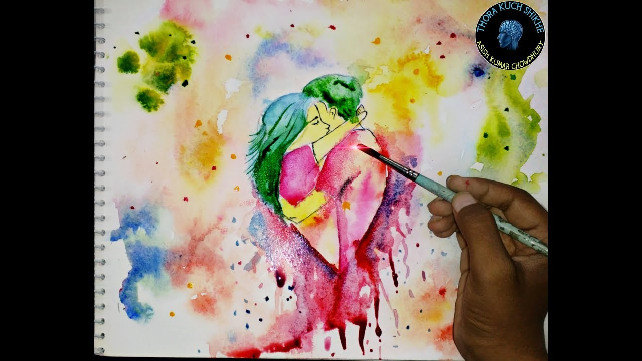 1280x720 How To Draw Watercolour Painting Of Couple Love Couple 2 By Asish