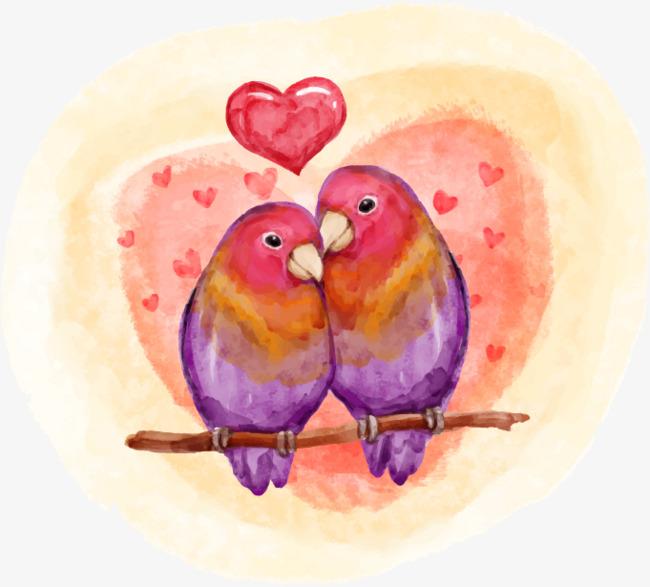 650x587 Love Birds Hand Painted Watercolor, Love Vector, Watercolor Vector