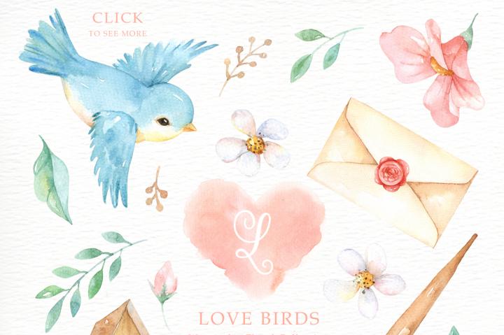 720x479 Love Birds Watercolor Cliparts By Everysunsun