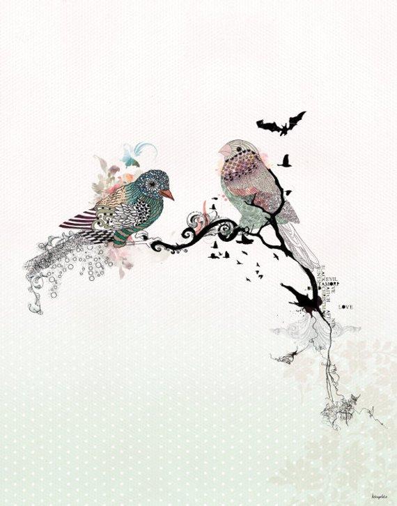 570x726 Love Birds Art Watercolor Art Bird Illustration Love Birds Etsy