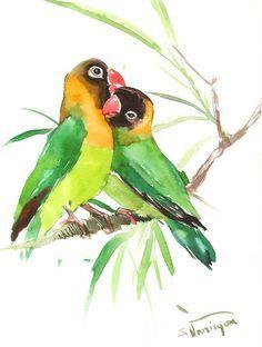 236x312 Lovebirds, Original Watercolor Painting, 12 X 9 In, Green Yellow