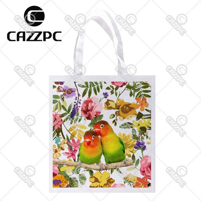 640x640 Lovebirds Bird And Watercolor Floral Print Custom Non Woven Fabric