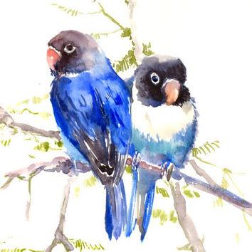 354x354 Lovebirds Painting, Blue, Bird Painting, From Originalonly