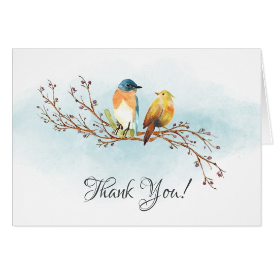 540x540 Watercolor Love Birds Bridal Shower Thank You Zazzle.co.uk
