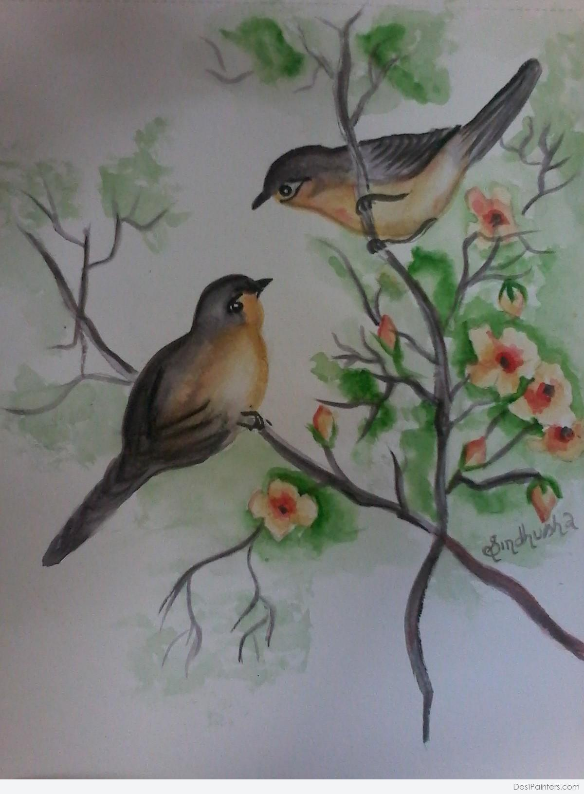 1200x1630 Watercolor Painting Of Love Birds