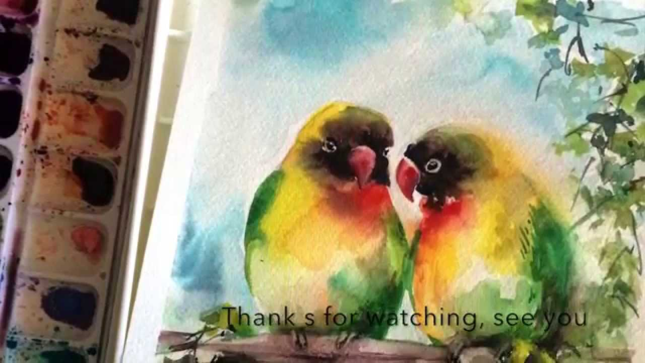 1280x720 Watercolor Painting Of Birds, Lovebirds Painting